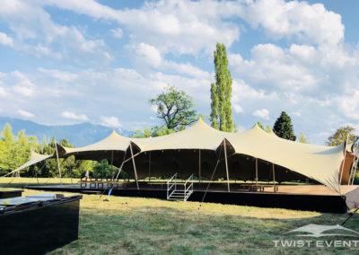 Twist Events - Location tentes de réception stretch modulables, scène, podium, guirlandes lumineuses - Corporate Event, Garden Party, Fête d'entreprise- Geneve Vaud Suisse Romande