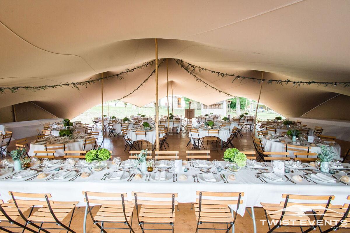 Twist Events - Location tente stretch arachnide 314m², mobilier et décoration champêtre - Mariage Geneve Vaud Suisse Romande