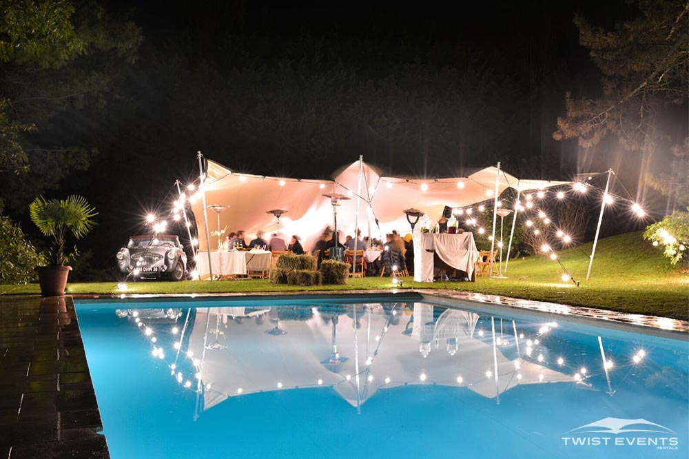 Twist Events - Location tente stretch S, mobilier, guirlandes lumineuses - Réception privée Geneve Vaud Suisse Romande
