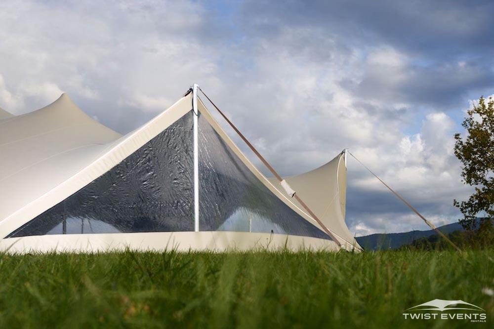 Tente stretch arachnide avec parois latérales - Twist Events - Location et vente tentes de réception stretch, mobilier événementiel - Genève Vaud Suisse Romande