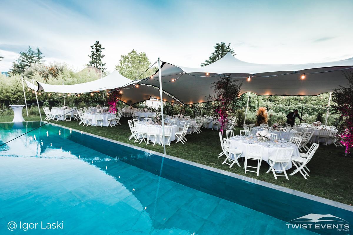 Twist Events - Location double tente de réception stretch M et guirlandes lumineuses - Mariage - Geneve Vaud Suisse Romande
