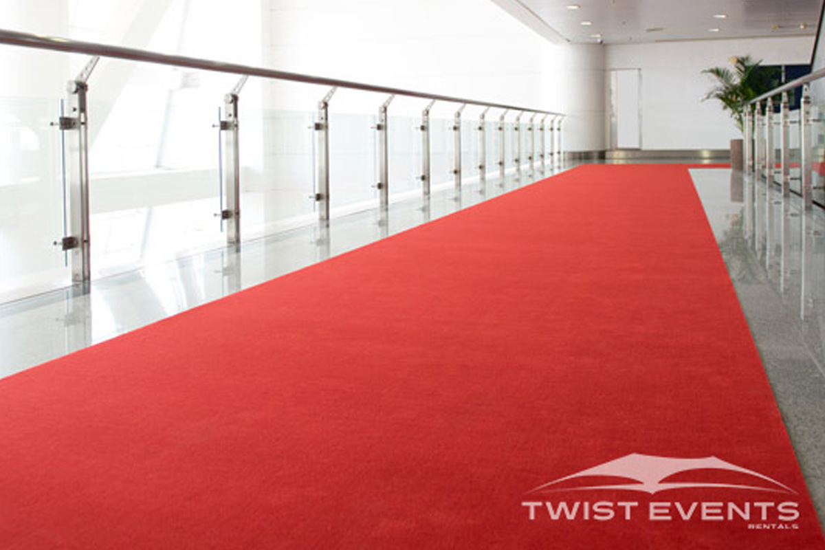 Moquette d'exposition tapis rouge - Revement de sol et materiel evenementiel - Canton Geneve Vaud Suisse Romande