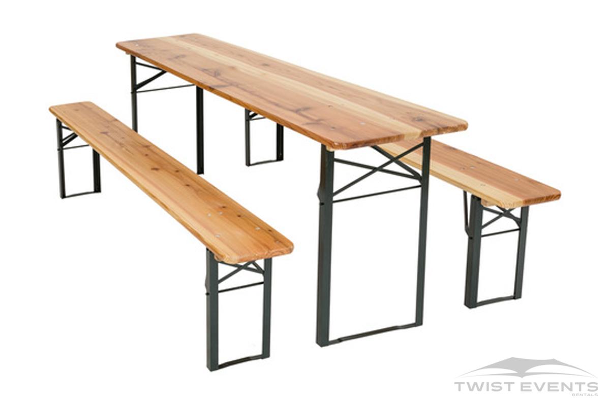 Location table et bancs en bois pliable evenement prive et professionnel geneve Twist Events W
