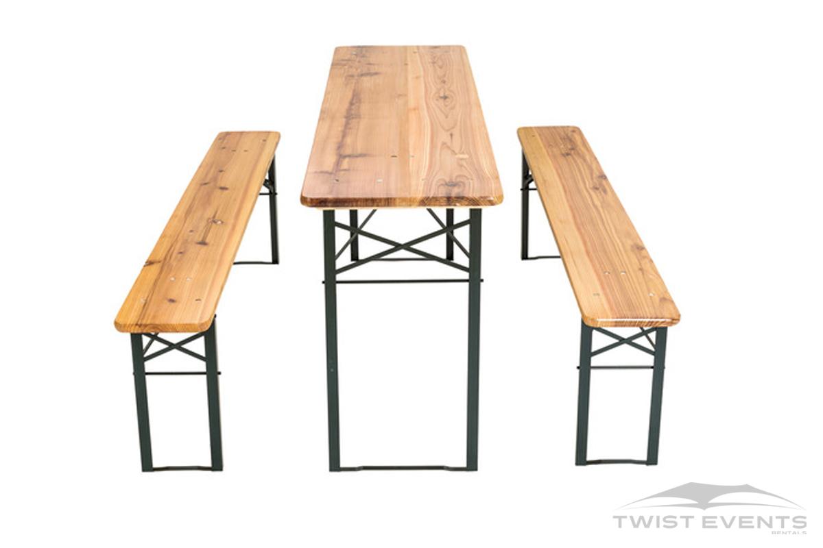 Location table et bancs en bois pliables evenement prive et professionnel geneve Twist Events W