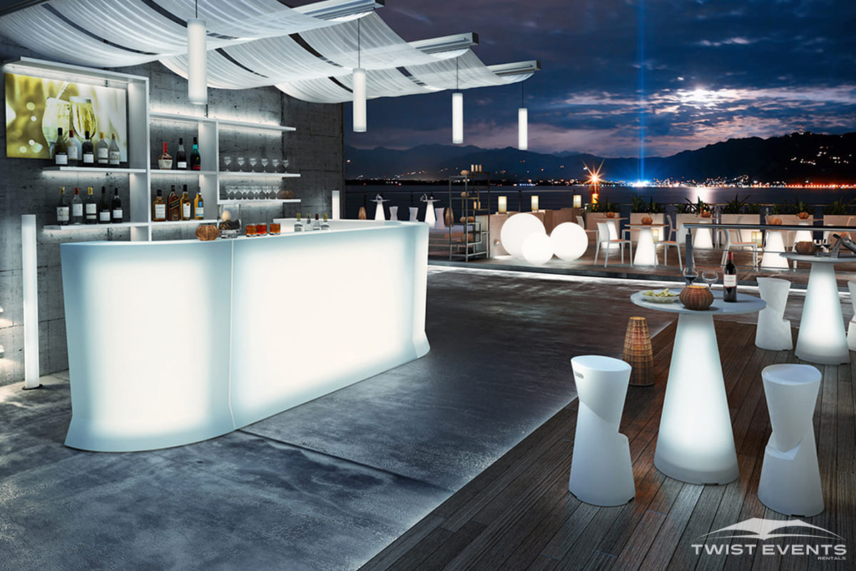 Location bar et mobilier lumineux - Evenement Geneve Suisse - Twist Events W