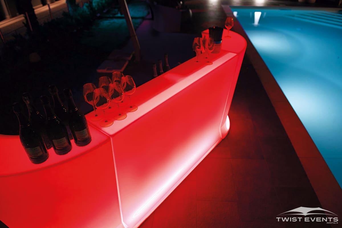 Location bar lumineux design - pool party - Evenement Geneve Suisse - Twist Events W